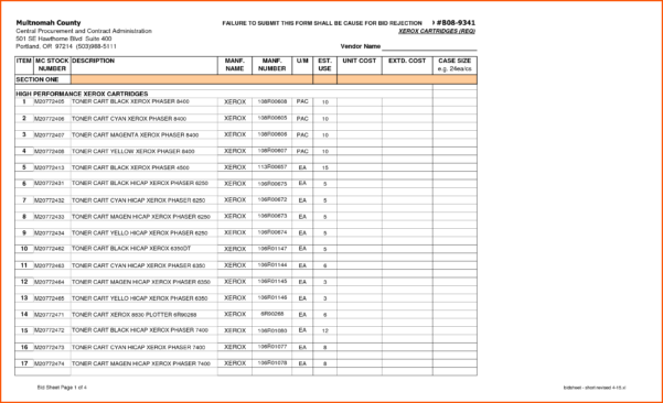 Construction Bid Comparison Spreadsheet For Bid Sheetlate Contractor Contract Award Letter Online Samples