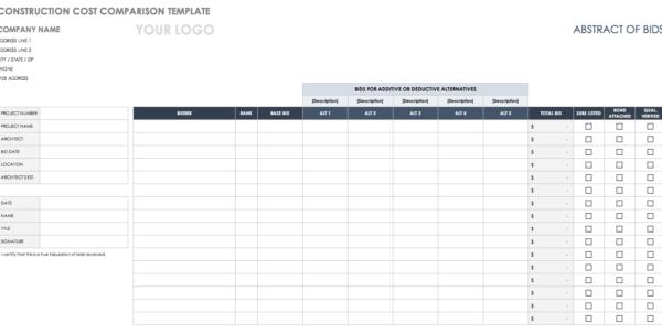 Construction Bid Comparison Spreadsheet For Free Price Comparison Templates  Smartsheet