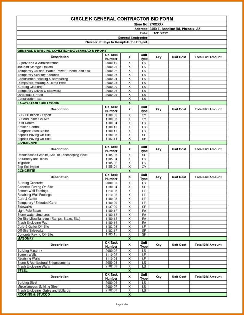 Construction Bid Comparison Spreadsheet Pertaining To Construction Bid Sheet Template Comparison Spreadsheet Plumbing