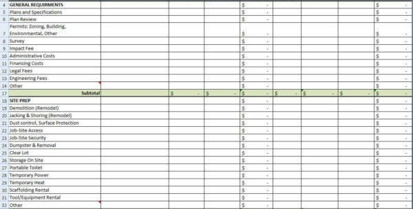 Construction Cost Spreadsheet Template For Residential Construction Cost Estimator Excel Sample Worksheets