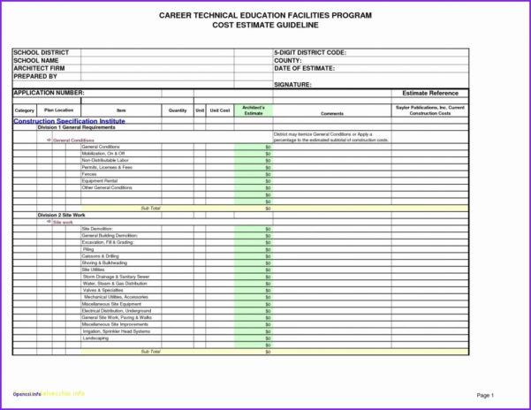 Construction Divisions Spreadsheet In Free Construction Estimating Spreadsheet Template Example Of