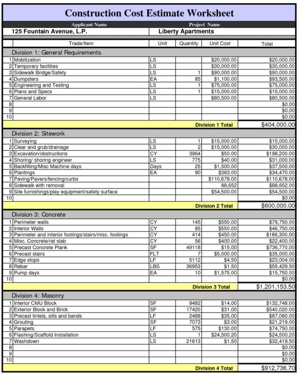 Construction Divisions Spreadsheet Intended For Residential Construction Estimating Spreadsheets Cost Estimate