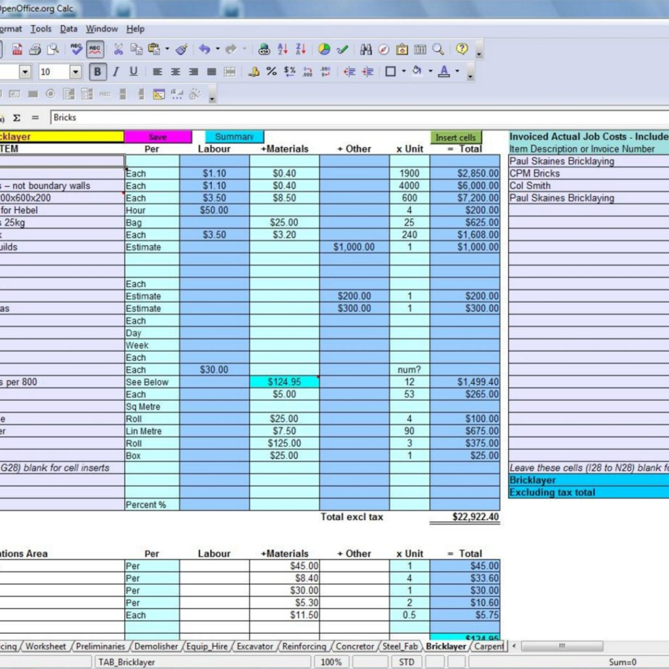 Construction Job Costing Spreadsheet Free Regarding 7 Free Construction Estimating Software Products With Construction