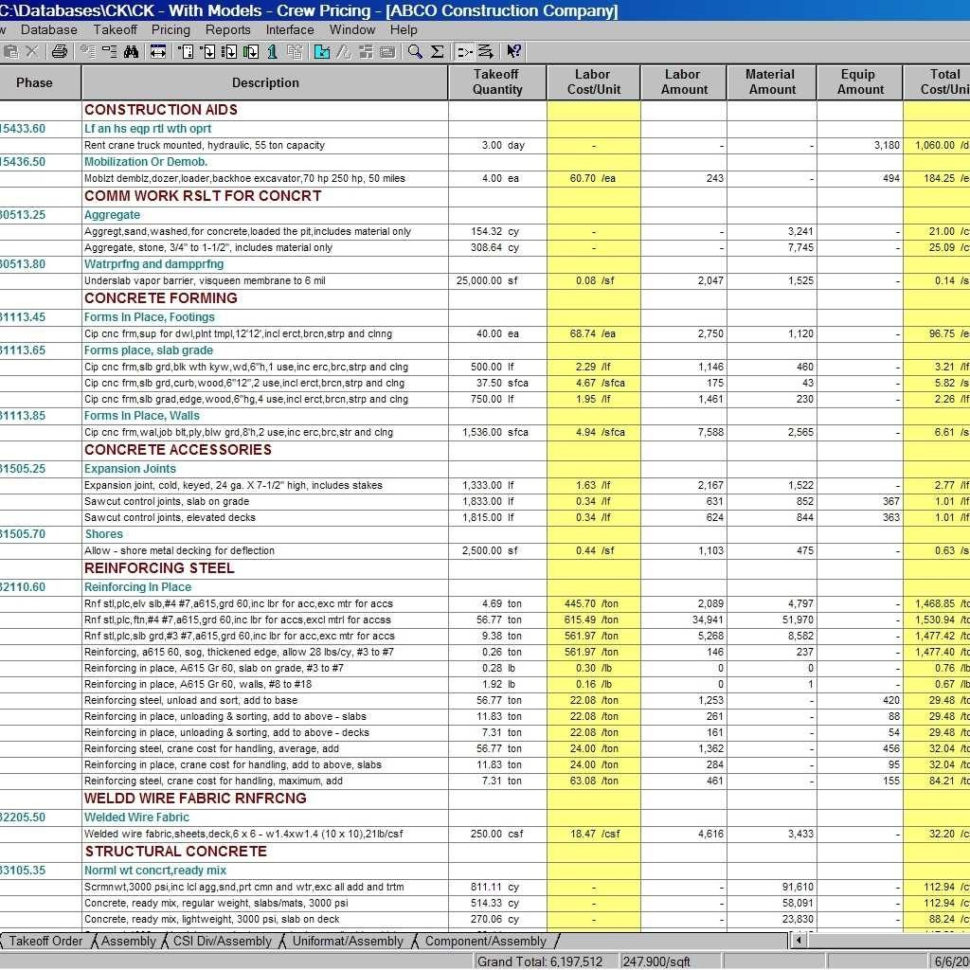 Construction Job Costing Spreadsheet Free Throughout Construction Job Costing Spreadsheet Cost Template Estimate Excel