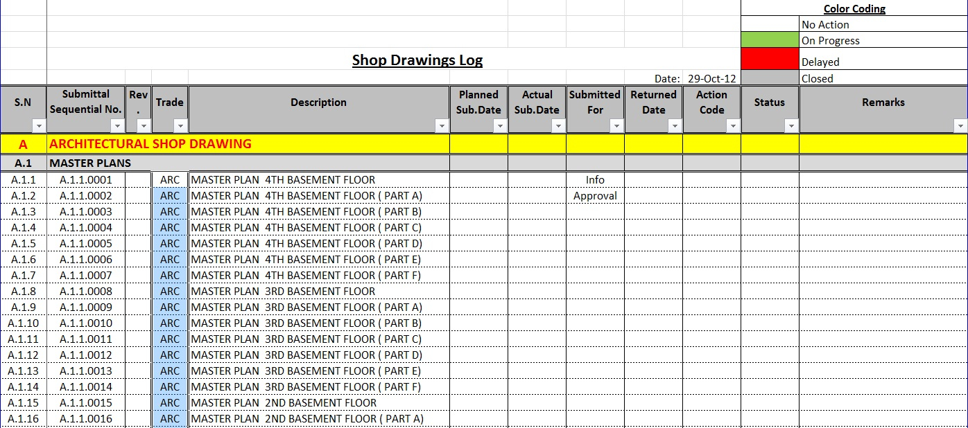 Construction Material Tracking Spreadsheet In How To Create A Shop Drawings Log With Sample File
