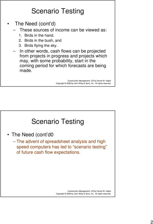 Construction Project Cash Flow Spreadsheet Throughout Project Cash Flow. Scenario Testing  Pdf