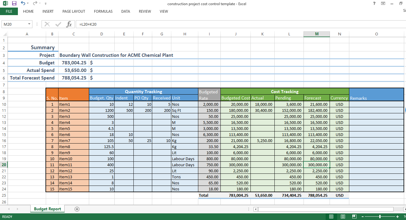 Construction Quantity Tracking Spreadsheet For Construction Project Cost Control  Excel Template  Workpack