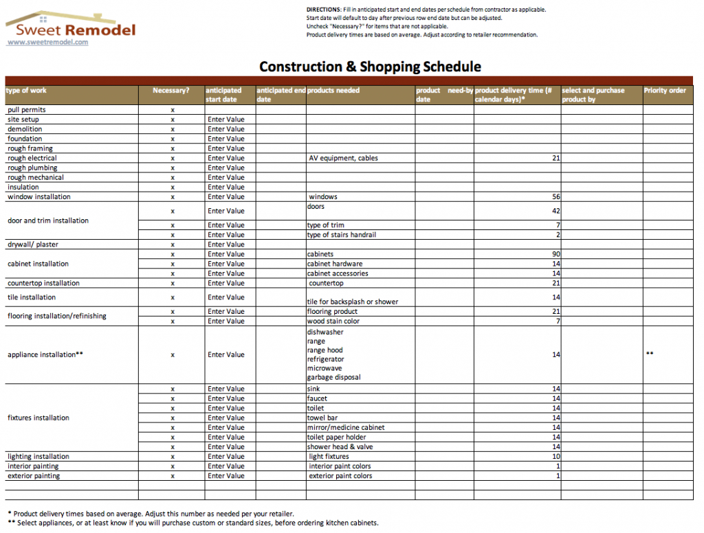 Construction Spreadsheet Examples With Home Construction Schedule Template Excel Example Of House Budget