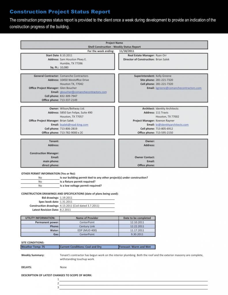 Construction Work In Progress Spreadsheet In Construction Project Progress Report Template And Status Cyberuse