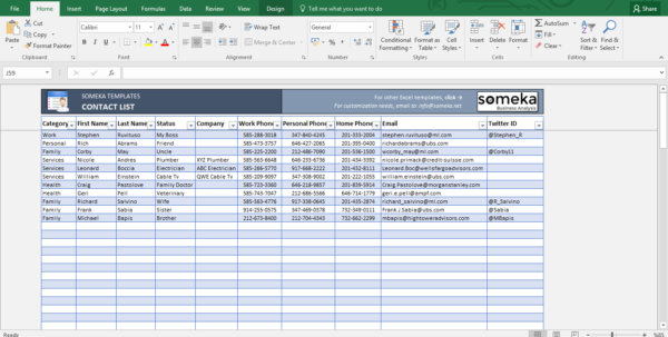 Contact Spreadsheet In Contact List Template In Excel  Free To Download  Easy To Print