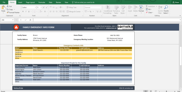 Contact Spreadsheet Within Emergency Contact Form  Free Excel Spreadsheet Template