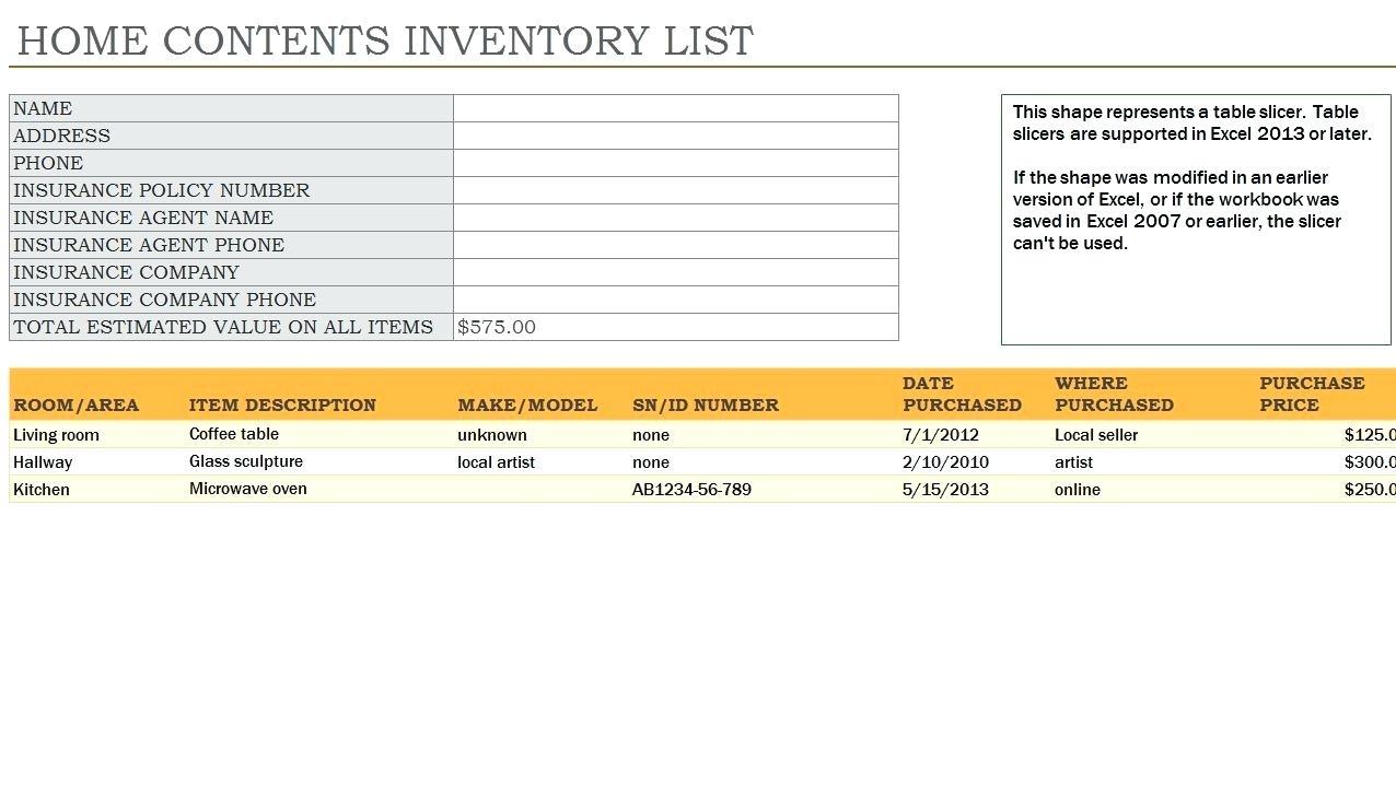 Contents Insurance Calculator Spreadsheet In Contents Inventory  Sasolo.annafora.co