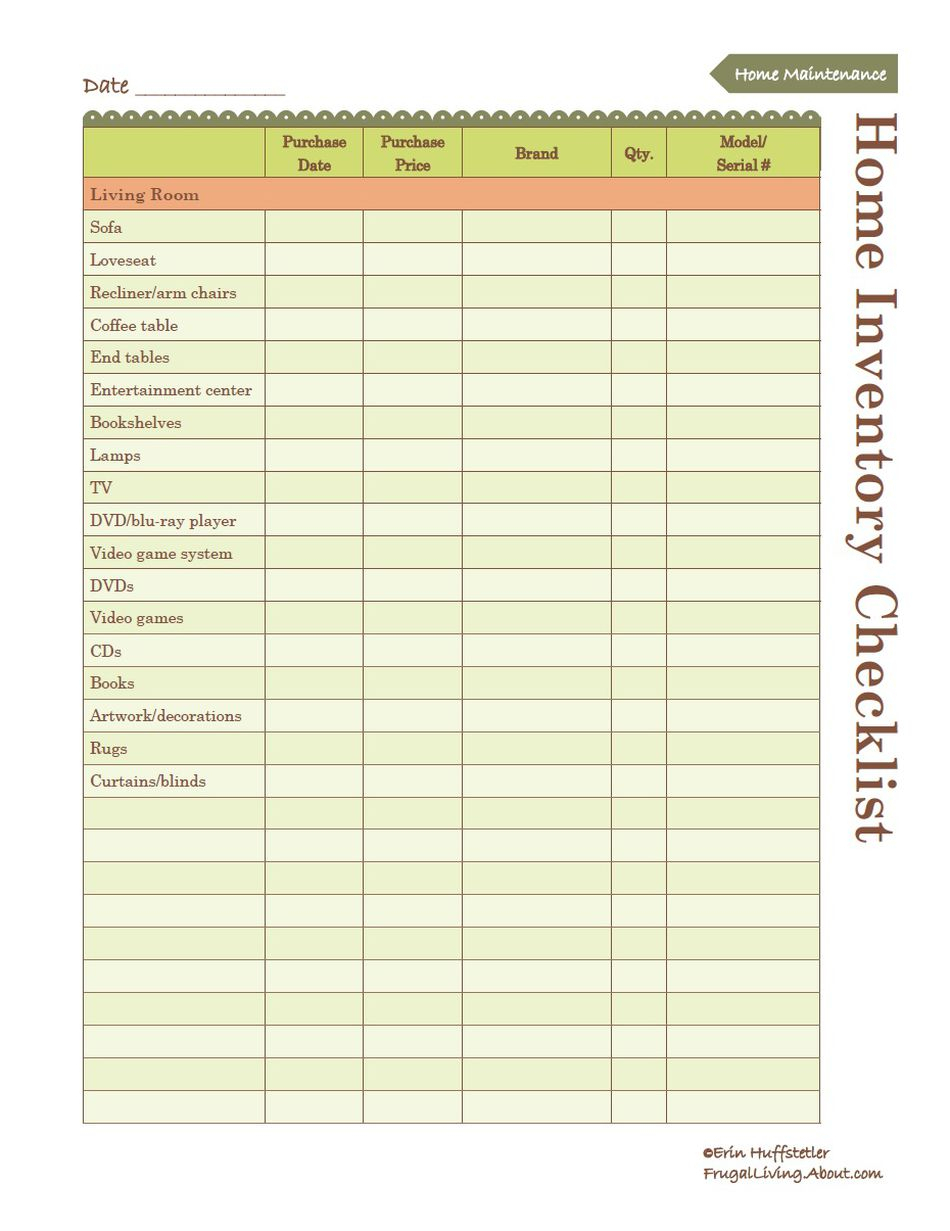 Contents Insurance Checklist Spreadsheet Within Printable Home Inventory List