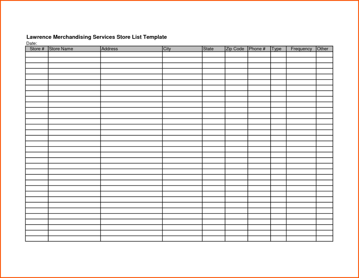 Convenience Store Inventory Spreadsheet Intended For Store List Template  Kasare.annafora.co