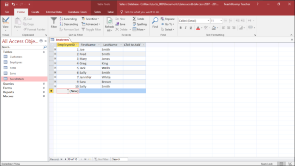 Convert Excel Spreadsheet To Access Database 2016 Inside Add Records To A Table In Datasheet View In Access