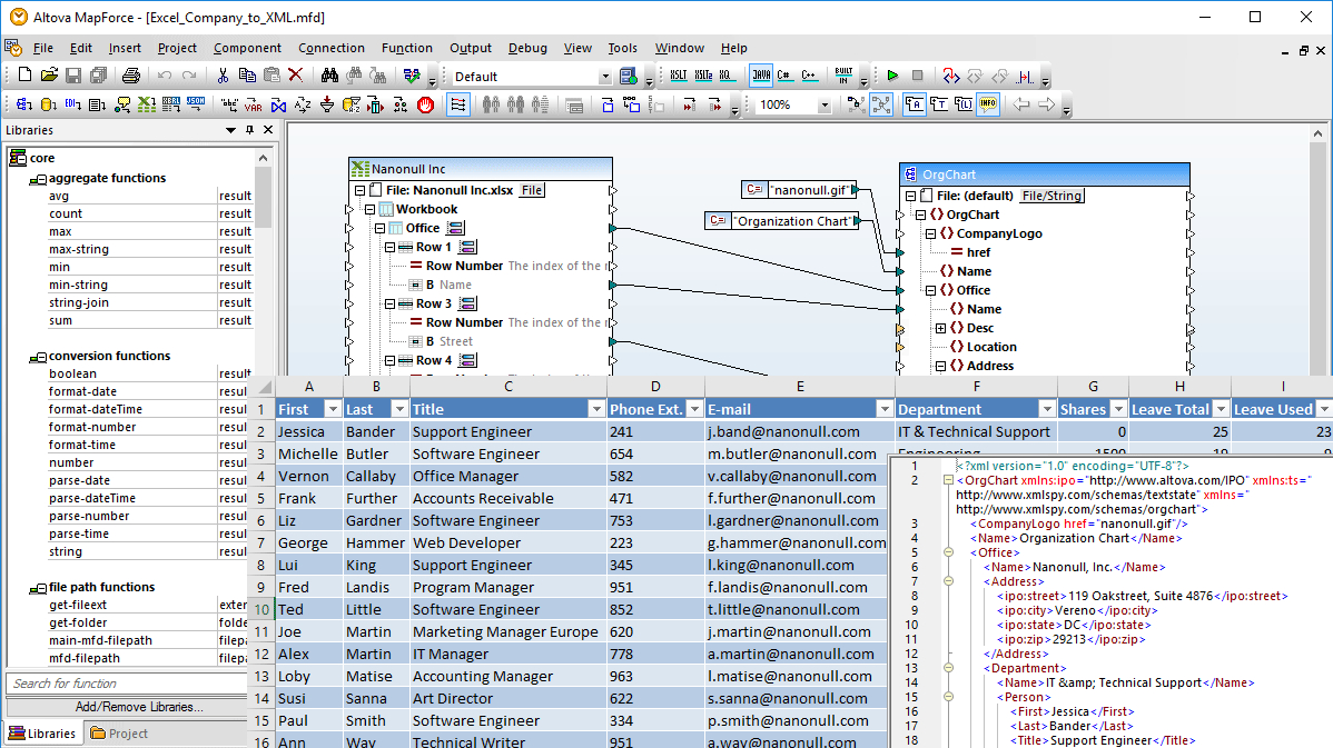 Convert Xml To Spreadsheet For Excel Mapping  Altova