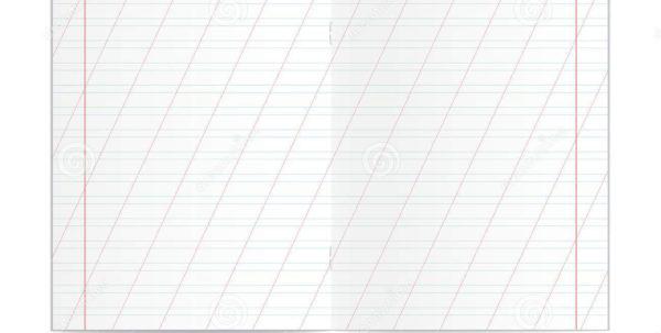 Copy Spreadsheet For Realistic Blank Handwriting Practice Copy Book Spreadsheet Stock