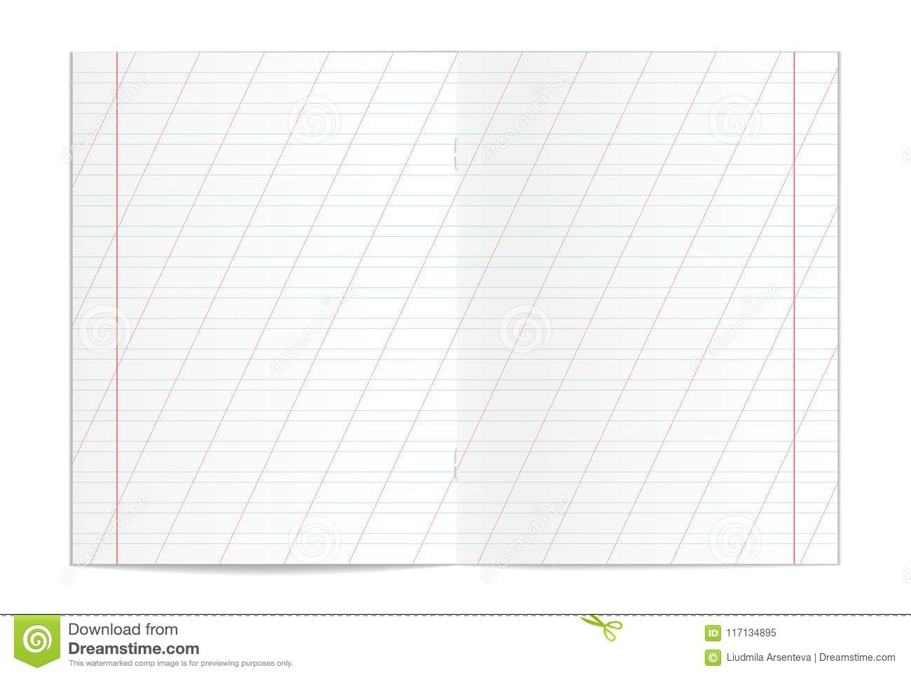 Copy Spreadsheet For Realistic Blank Handwriting Practice Copy Book Spreadsheet Stock