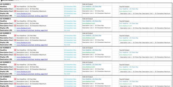 Copy Spreadsheet With Regard To A Spreadsheet For Building Adwords Copy  Generator