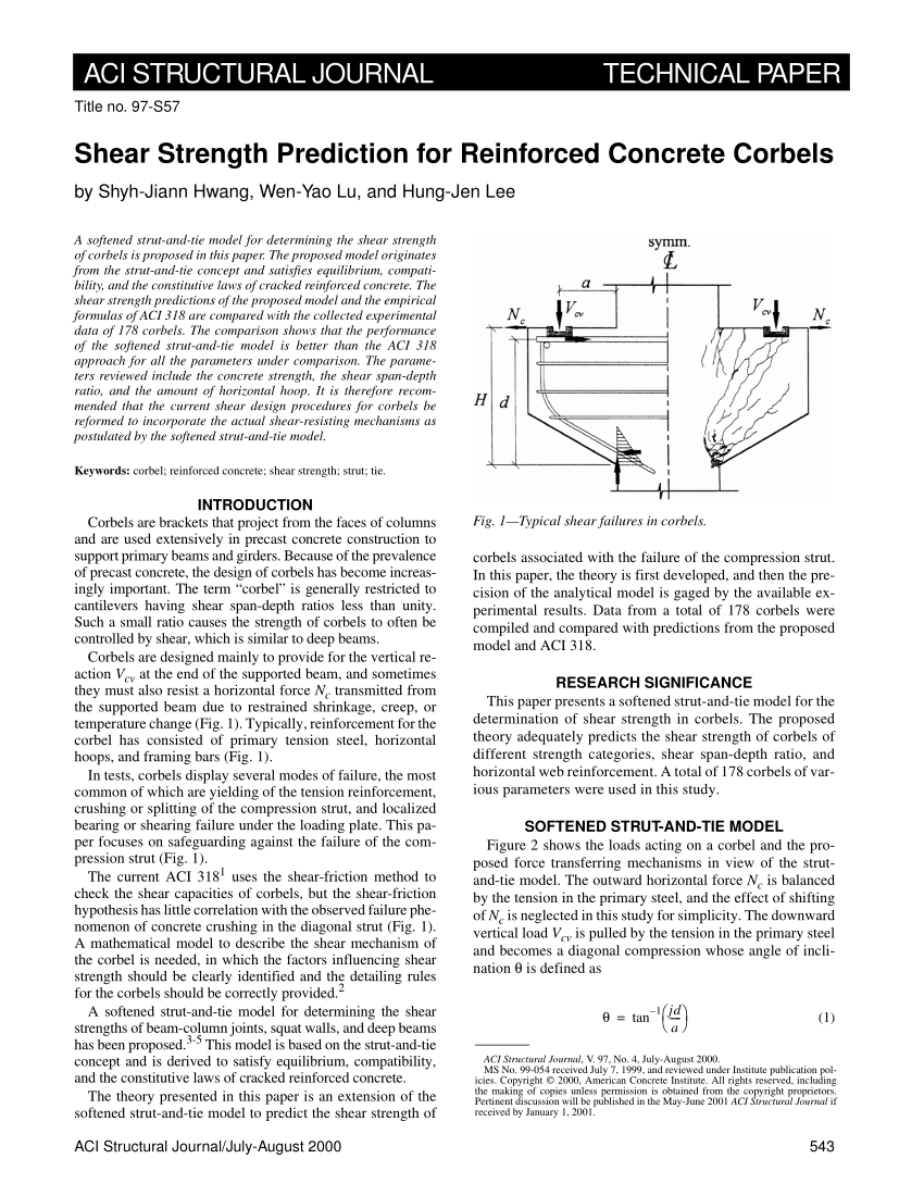 Corbel Design Spreadsheet With Pdf Reinforced Concrete Corbelsstate Of The Art A R T I C L E I N F O
