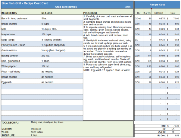 Cost Accounting Excel Spreadsheet With Menu  Recipe Cost Spreadsheet Template