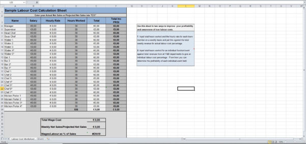 Cost Allocation Spreadsheet Template Intended For Labour Cost Calculation Excel Template  Eloquens