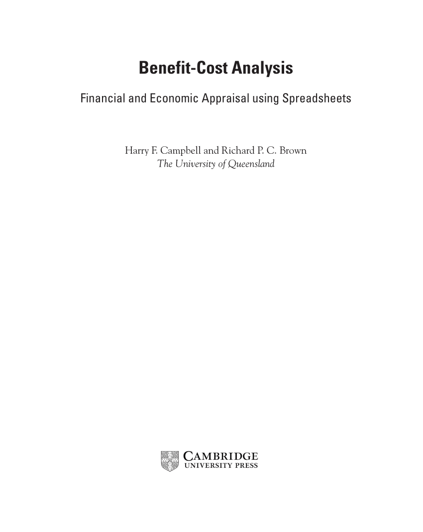 Cost Benefit Analysis Financial And Economic Appraisal Using Spreadsheets Pertaining To Pdf Benefitcost Analysis: Financial And Economic Appraisal Using