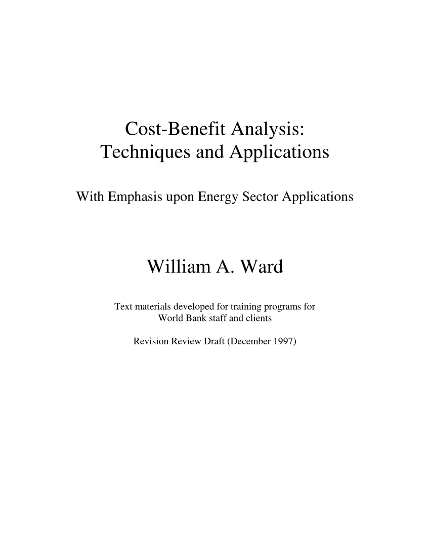 Cost Benefit Analysis Financial And Economic Appraisal Using Spreadsheets Within Pdf Costbenefit Analysis: Techniques And Applications  With