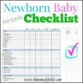 Costume Plot Spreadsheet Regarding Printable Newborn Checklist ⋆ Homemade For Elle