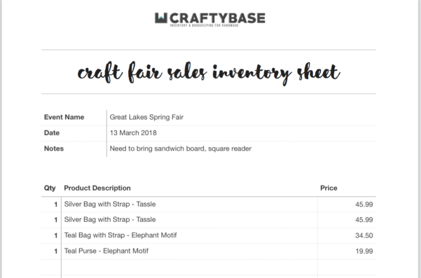 Craft Inventory Spreadsheet For Free Craft Show Inventory Template