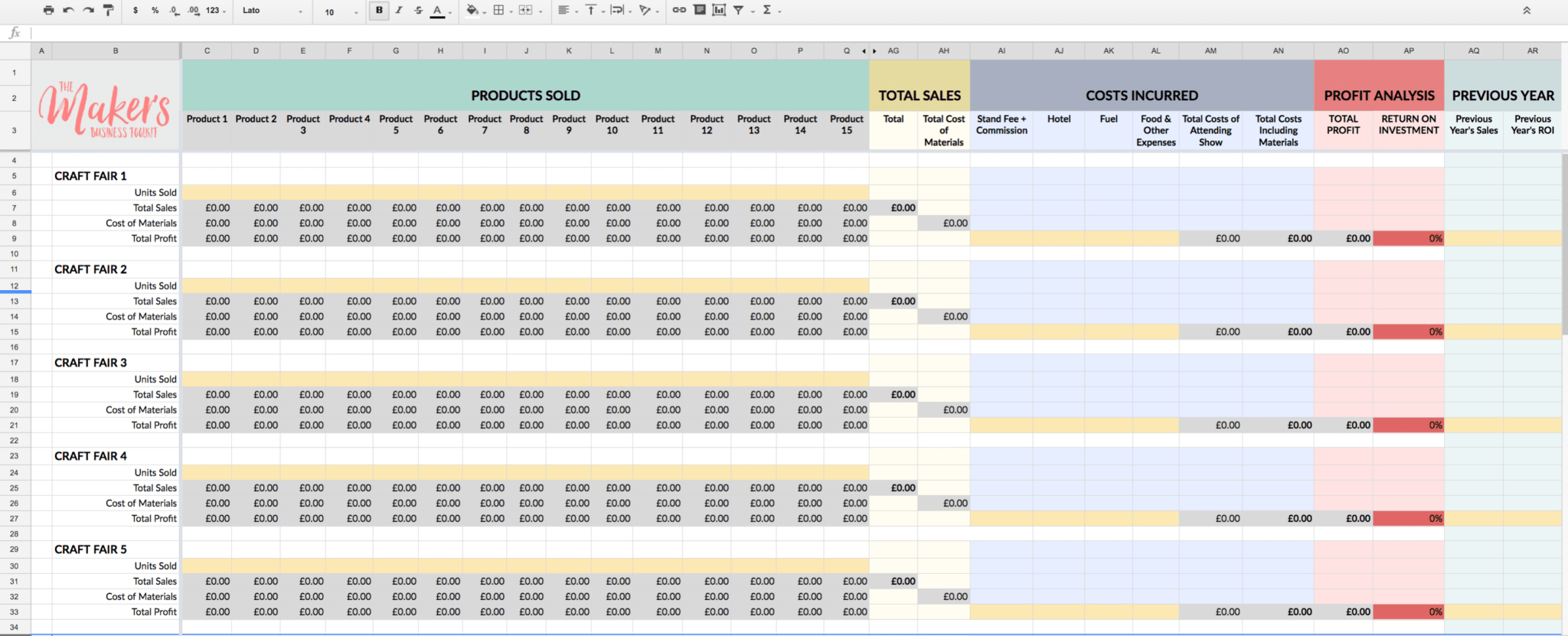 Craft Pricing Spreadsheet Inside Free Craft Fair Profitability Tracker  The Maker's Business Toolkit