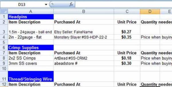 Craft Pricing Spreadsheet Regarding Laura Bracken Jewelry And Craft Pricing Calculator  Easy To Use