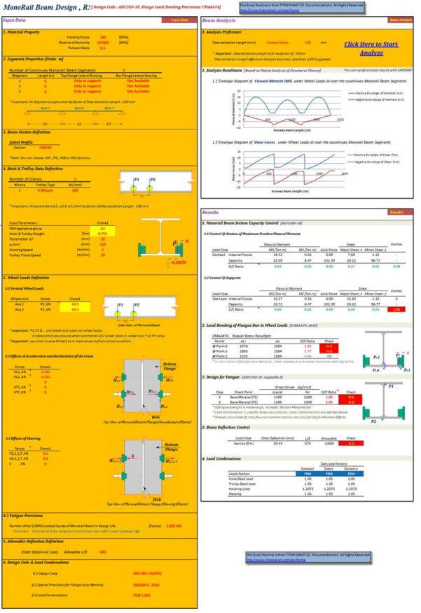 Crane Beam Design Spreadsheet Regarding Excelvba; Design Of Monorail Beam Cranes  Freelancer