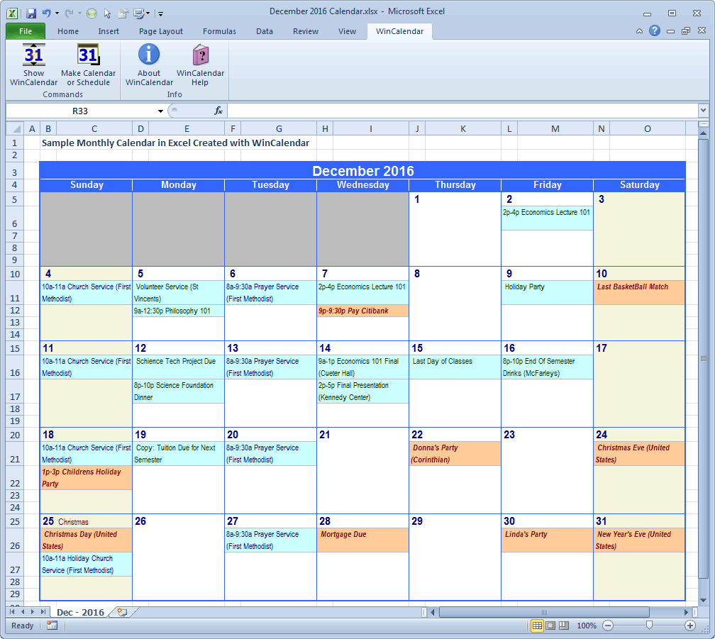 Create Calendar From Excel Spreadsheet Data Inside Wincalendar: Excel Calendar Creator With Holidays