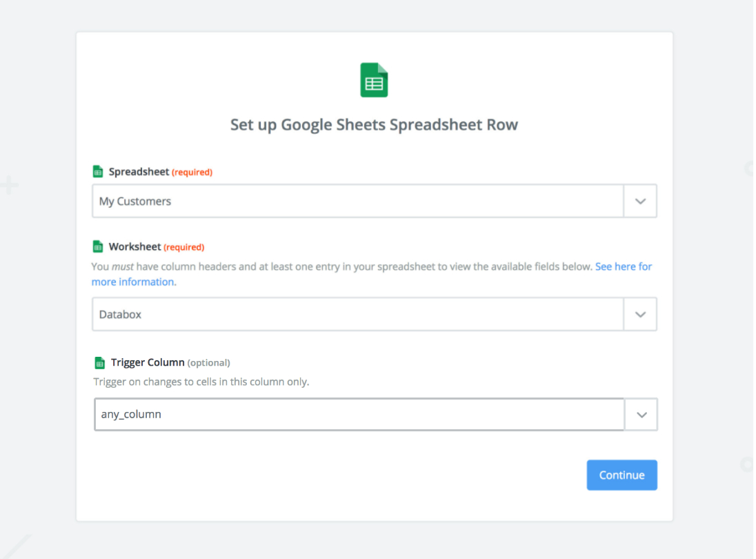 Create Google Doc Spreadsheet Throughout Guide: Using Google Sheets Through Zapier  Databox Help Desk