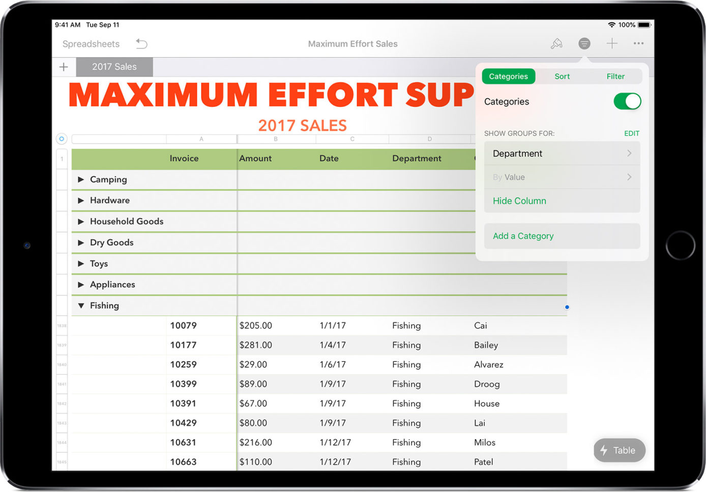 Create Spreadsheet On Ipad For Use Smart Categories In Numbers  Apple Support