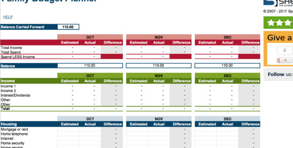 Creating A Family Budget Spreadsheet Pertaining To 15 Easytouse Budget Templates  Gobankingrates