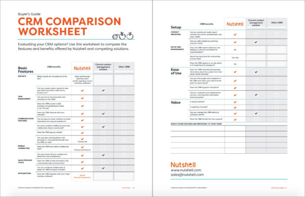 Credit Card Comparison Spreadsheet In Crm Comparison Worksheet  Nutshell  Free Crm Resources