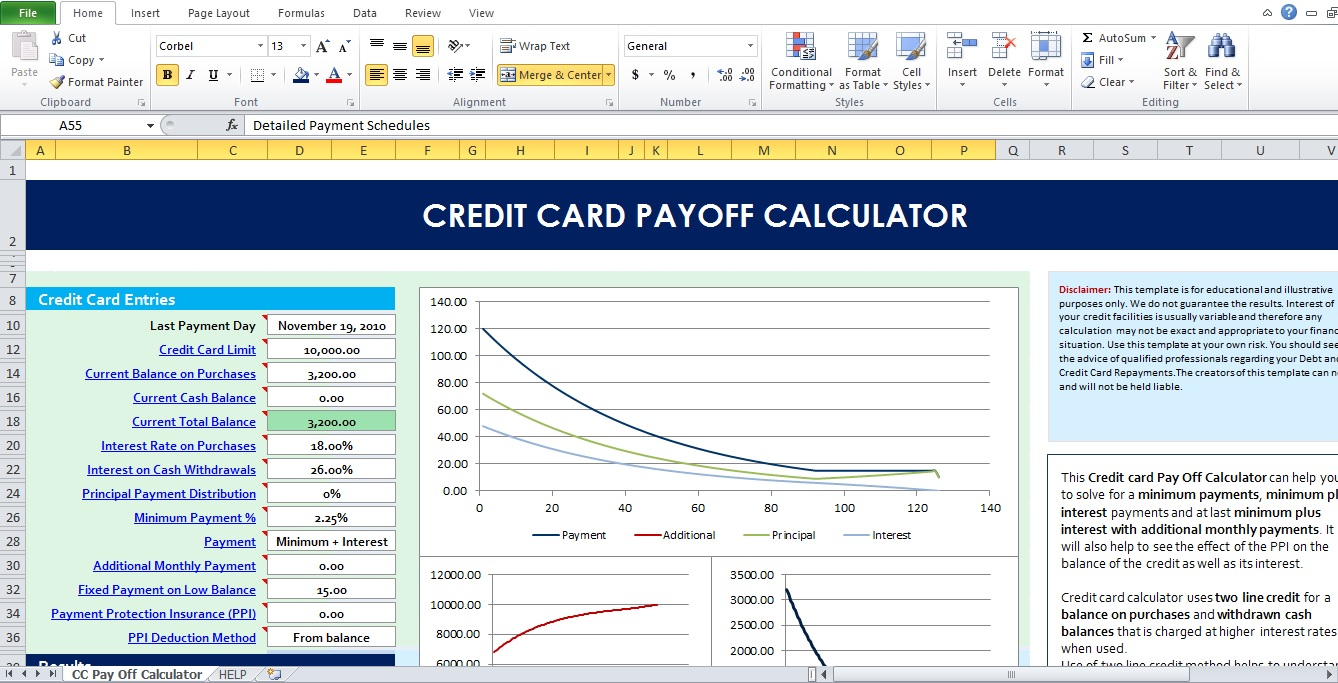 Credit Card Interest Calculator Spreadsheet Within Example Of Credit Card Interest Calculator Spreadsheet
