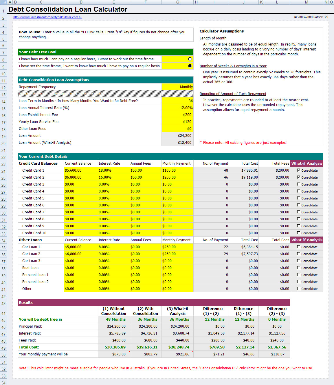 Credit Card Repayment Calculator Spreadsheet For Loan Calculator Credit Card  My Mortgage Home Loan