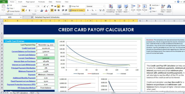 Credit Card Repayment Calculator Spreadsheet Throughout Example Of Credit Card Interest Calculator Spreadsheet