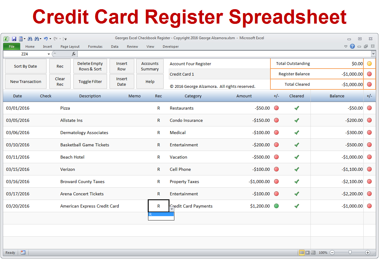 Credit Card Tracking Spreadsheet Template Regarding Creditard Tracking Spreadsheet Template Excelheckbook Registers To