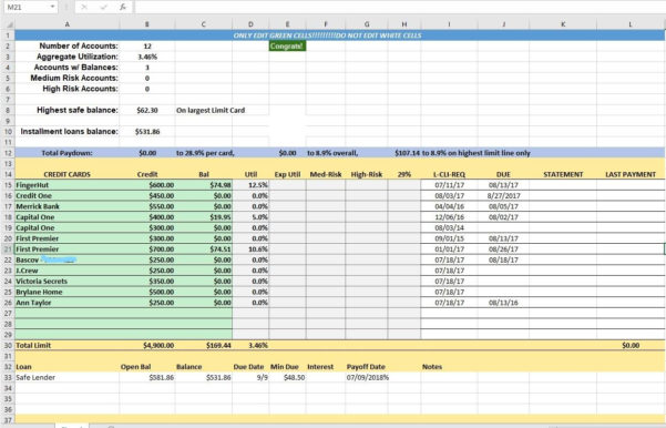 Credit Control Excel Spreadsheet In Credit Card Utilization Tracking Spreadsheet  Credit Warriors