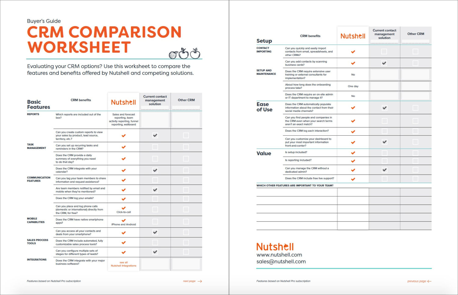 Crm Comparison Spreadsheet In Crm Comparison Worksheet  Nutshell  Free Crm Resources