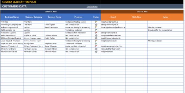Crm Excel Template Spreadsheet With Lead List Excel Template For Small Business  Free  Printable