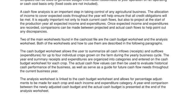 Crop Production Cost Spreadsheet Within Cash Flow Analysis Worksheets
