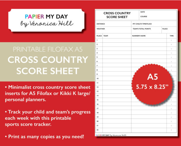 Cross Country Scoring Spreadsheet With Printable A5 Filofax Cross Country Score Sheet Cross Country  Etsy