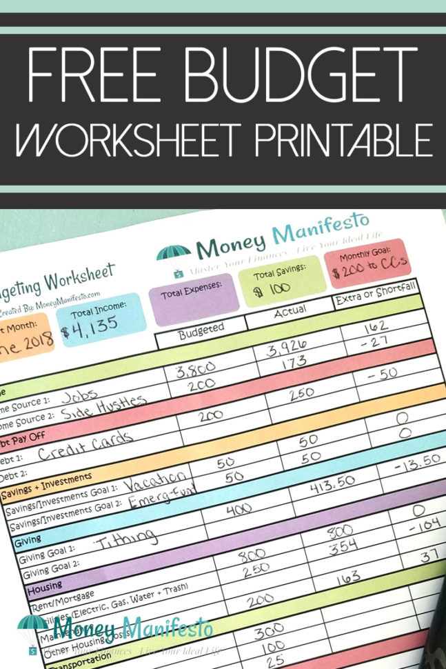 Cruise Budget Spreadsheet Pertaining To Free Budgeting Worksheet Printable To Help You Learn How To Budget