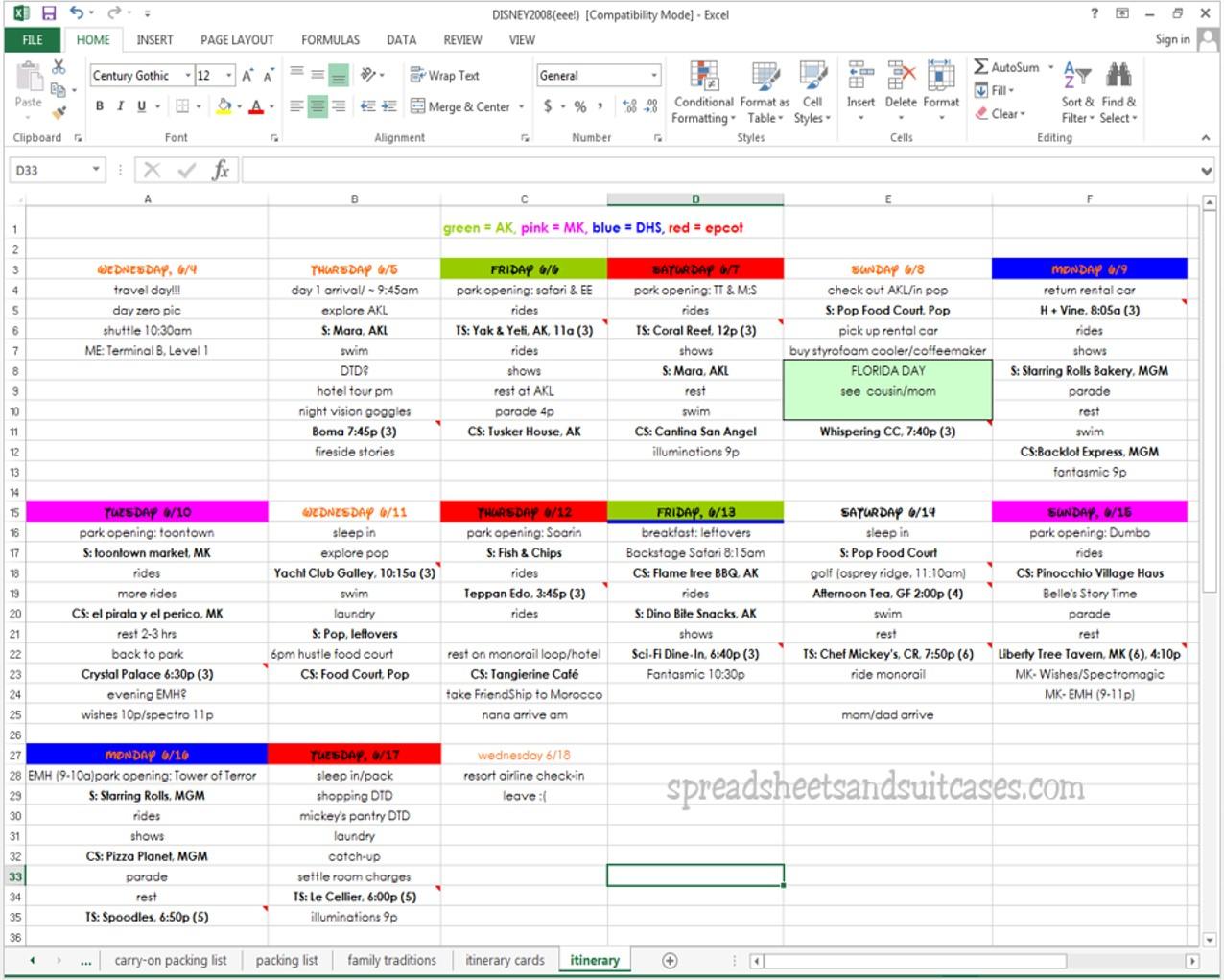 Cruise Planning Spreadsheet Regarding Travel Planning For Dorks Spreadsheet Tutorial Part 5