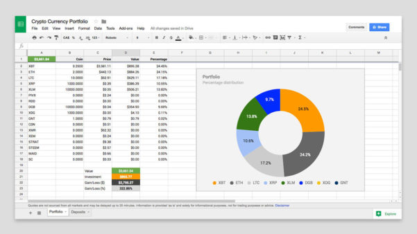 Cryptocurrency Excel Spreadsheet Regarding Free Cryptocurrency Portfolio Tracker For Canadians